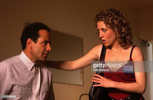 MONK Mr Monk Goes to Asylum Episode 6 Pictured Tony Shalhoub as Adrian Monk Bitty Schram as Sharona Fleming