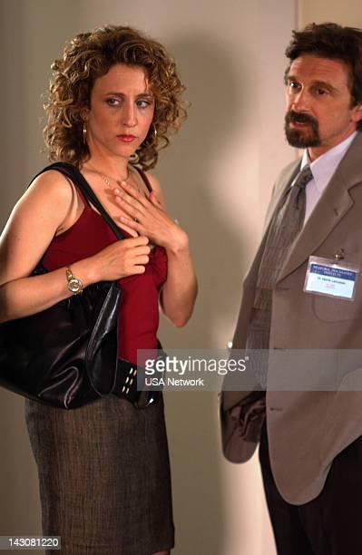 "Mr. Monk Goes to Asylum"" Episode -- Pictured: Bitty Schram as Sharona Fleming, Dennis Boutsikaris as Dr. Morris Lancaster --"