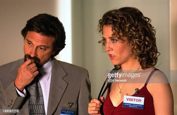 "Mr. Monk Goes to Asylum"" Episode -- Pictured: Dennis Boutsikaris as Dr. Morris Lancaster, Bitty Schram as Sharona Fleming --"