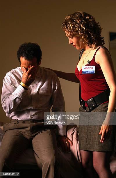 "Mr. Monk Goes to Asylum"" Episode -- Pictured: Tony Shalhoub as Adrian Monk, Bitty Schram as Sharona Fleming --"