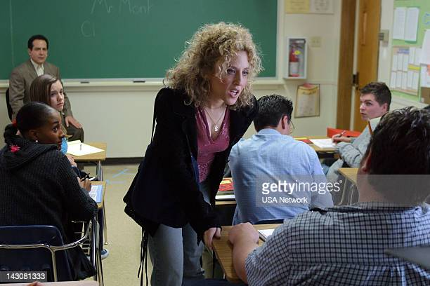 """Mr. Monk Goes to Back to School"""" Episode 1 -- Pictured: Bitty Schram as Sharona Fleming--"""