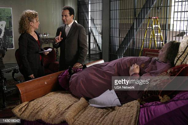 MONK Mr Monk Goes to Jail Episode 16 Pictured Bitty Schram as Sharona Fleming Tony Shalhoub as Adrian Monk Tim Curry as Dale 'The Whale' Biederbeck