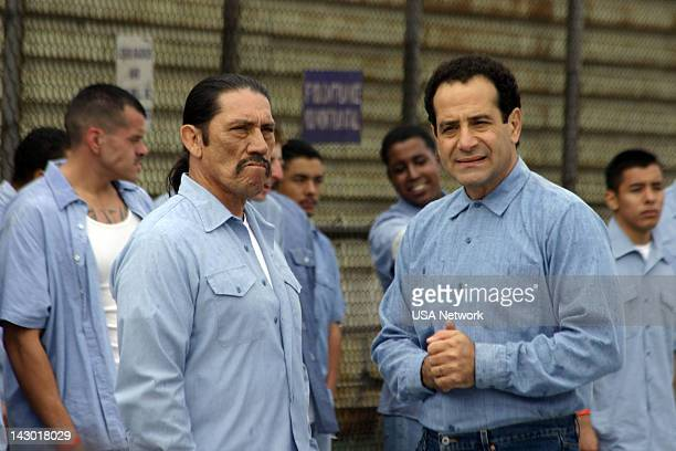 MONK Mr Monk Goes to Jail Episode 16 Pictured Danny Trejo as Spyder Runder Tony Shalhoub as Adrian Monk