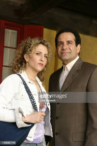 """Mr. Monk Goes to Mexico"""" Episode 2 -- Pictured: Bitty Schram as Sharona Fleming, Tony Shalhoub as Adrian Monk --"""