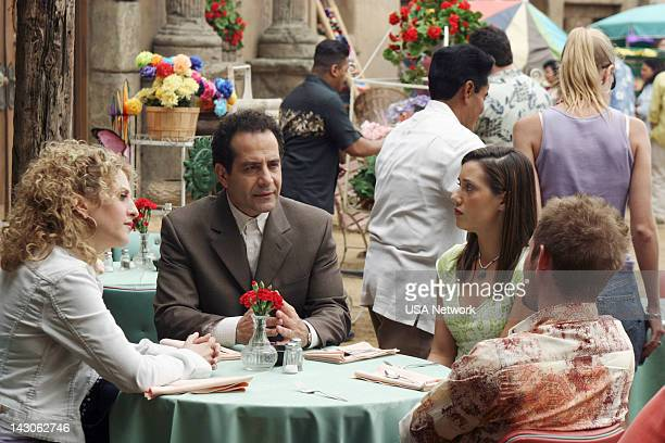 """Mr. Monk Goes to Mexico"""" Episode 2 -- Pictured: Bitty Schram as Sharona Fleming, Tony Shalhoub as Adrian Monk--"""