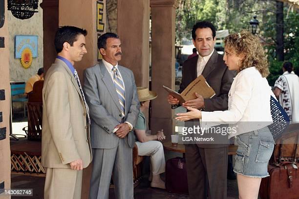 "Mr. Monk Goes to Mexico"" Episode 2 -- Pictured: David Norona as Lt. Plato, Tony Plana Capt. Alameda, Tony Shalhoub as Adrian Monk, Bitty Schram as..."