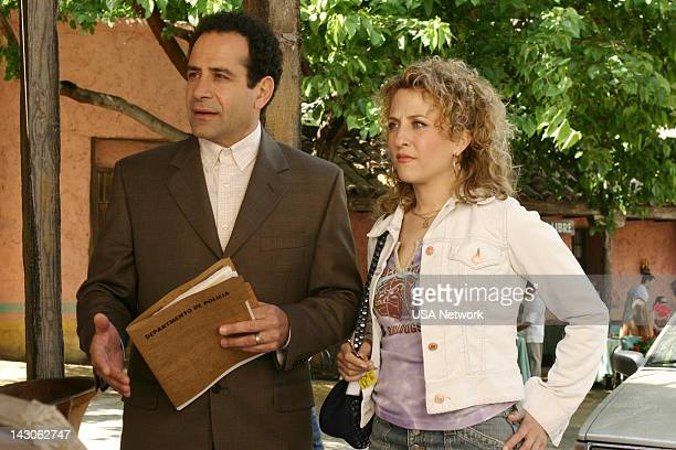 """Mr. Monk Goes to Mexico"""" Episode 2 -- Pictured: Tony Shalhoub as Adrian Monk, Bitty Schram as Sharona Fleming--"""