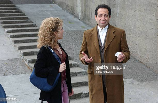 """Mr. Monk Goes to the Ballgame"""" Episode 4 -- Pictured: Bitty Schram as Sharona Fleming, Tony Shalhoub as Adrian Monk--"""