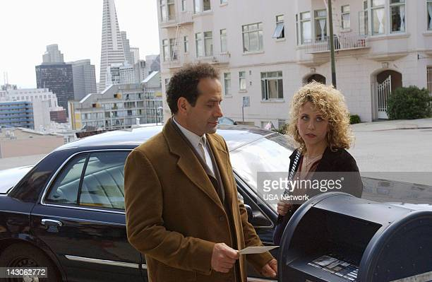 """Mr. Monk Goes to the Ballgame"""" Episode 4 -- Pictured: Tony Shalhoub as Adrian Monk, Bitty Schram as Sharona Fleming--"""