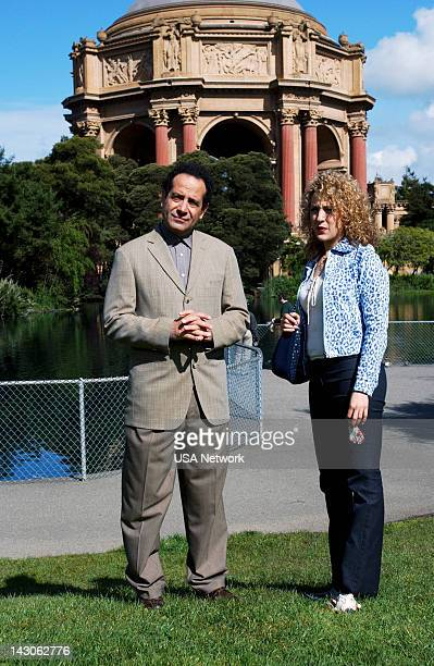 MONK Mr Monk Goes to the Ballgame Episode 4 Pictured Tony Shalhoub as Adrian Monk Bitty Schram as Sharona Fleming