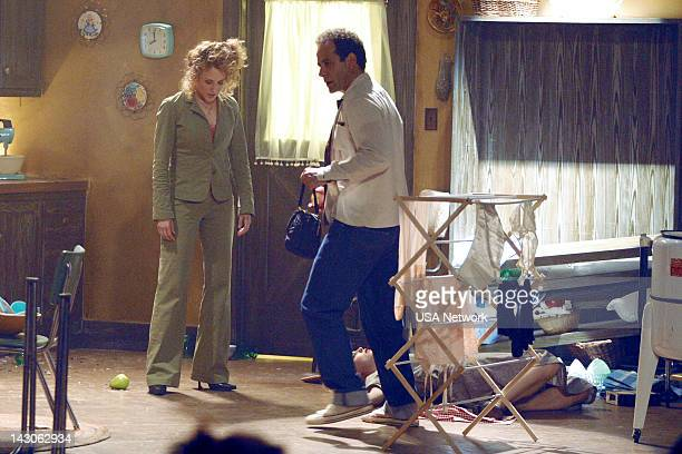 """Mr. Monk Goes to the Theater"""" Episode 6-- Pictured: Bitty Schram as Sharona Fleming, Tony Shalhoub as Adrian Monk--"""