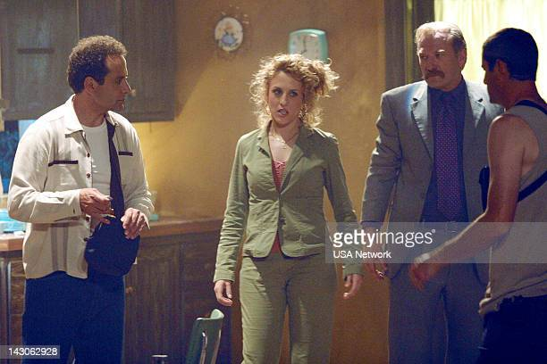 """Mr. Monk Goes to the Theater"""" Episode 6-- Pictured: Tony Shalhoub as Adrian Monk, Bitty Schram as Sharona Fleming, Ted Levine as Captain Leland..."""