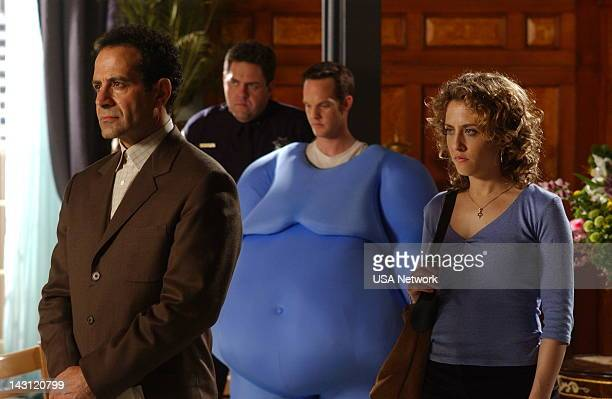 MONK Mr Monk Meets Dale the Whale Episode 4 Pictured Tony Shalhoub as Adrian Monk Jason GrayStanford as Lt Randall Disher Bitty Shram as Sharona...