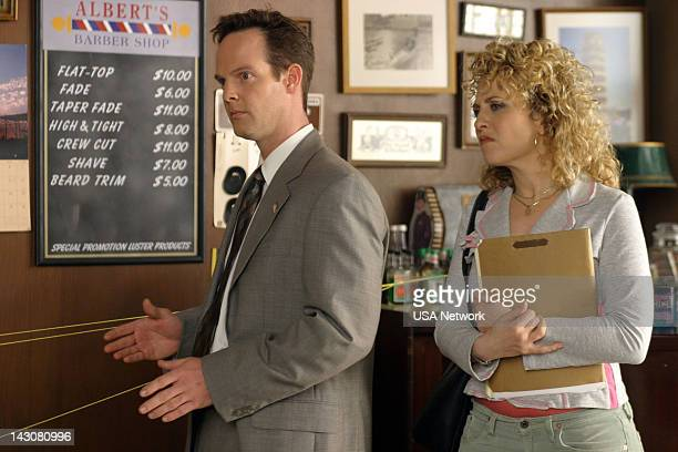 """Mr. Monk Meets the Godfather"""" Episode 2 -- Pictured: Jason Gray-Stanford as Lt. Randall Disher, Bitty Schram as Sharona Fleming --"""