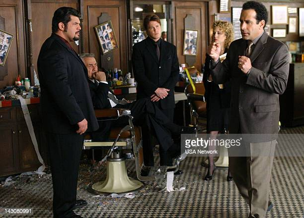 """Mr. Monk Meets the Godfather"""" Episode 2 -- Pictured: Lochlyn Munro as Fat Tony Lucarelli, Philip Baker Hall as Salvatore Lucarelli, Devon Gummersall..."""