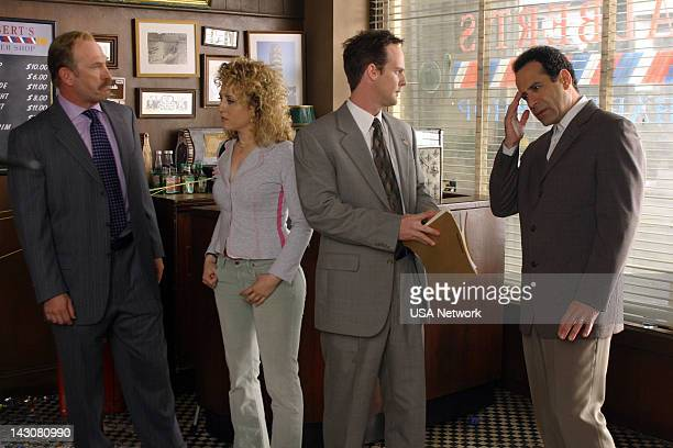 """Mr. Monk Meets the Godfather"""" Episode 2 -- Pictured: Ted Levine as Captain Leland Stottlemeyer, Bitty Schram as Sharona Fleming, Jason Gray-Stanford..."""