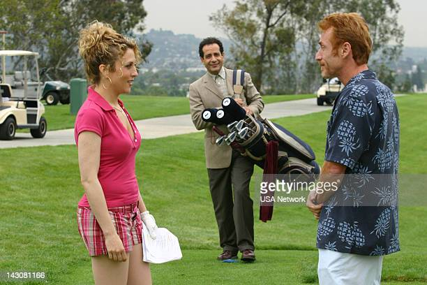 MONK Mr Monk Meets the Playboy Episode 8 Pictured Bitty Schram as Sharona Fleming Tony Shalhoub as Adrian Monk Danny Bonaduce