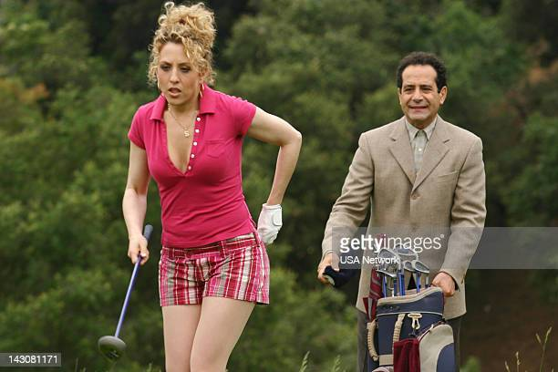 """Mr. Monk Meets the Playboy"""" Episode 8-- Pictured: Bitty Schram as Sharona Fleming, Tony Shalhoub as Adrian Monk --"""