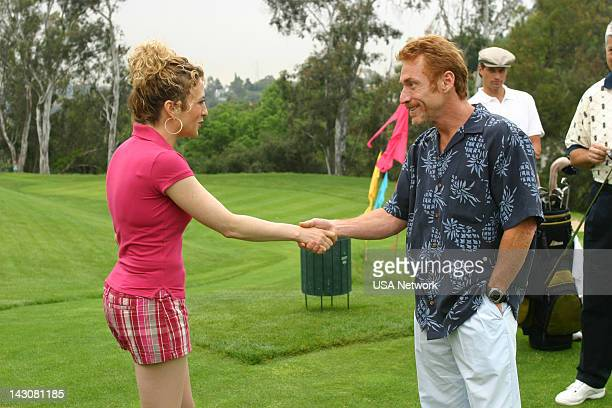 """Mr. Monk Meets the Playboy"""" Episode 8-- Pictured: Bitty Schram as Sharona Fleming, Danny Bonaduce --"""