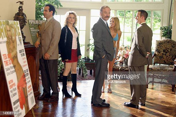 """Mr. Monk Meets the Playboy"""" Episode 8-- Pictured: Tony Shalhoub as Adrian Monk, Bitty Schram as Sharona Fleming, Ted Levine as Captain Leland..."""