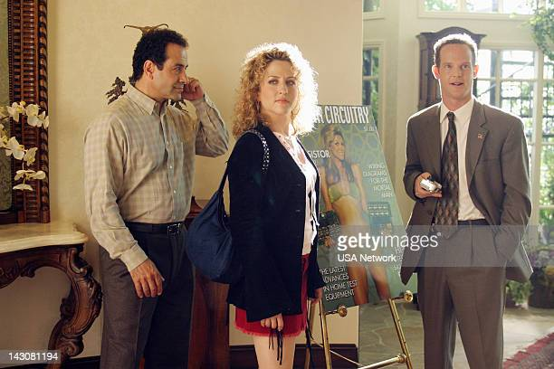 """Mr. Monk Meets the Playboy"""" Episode 8-- Pictured: Tony Shalhoub as Adrian Monk, Bitty Schram as Sharona Fleming, Jason Gray-Stanford as Lt. Randall..."""