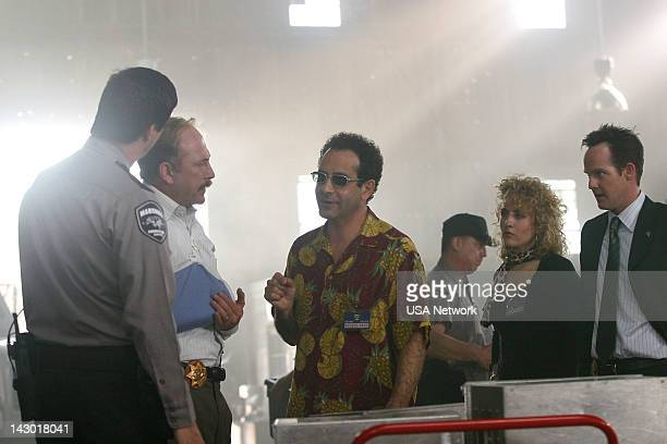 """Mr. Monk Takes His Medicine"""" Episode 9 -- Pictured: Ted Levine as Captain Leland Stottlemeyer, Tony Shalhoub as Adrian Monk, Bitty Schram as Sharona..."""