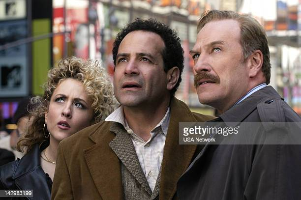 """Mr. Monk Takes Manhattan"""" Episode 1 -- Pictured: Bitty Schram as Sharona Fleming, Tony Shalhoub as Adrian Monk, Ted Levine as Captain Leland..."""