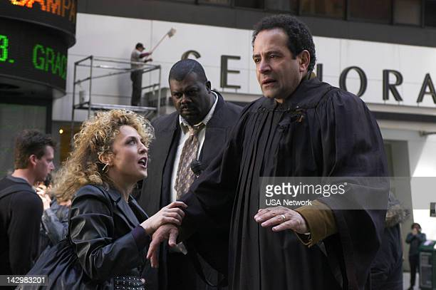 "Mr. Monk Takes Manhattan"" Episode 1 -- Pictured: Bitty Schram as Sharona Fleming, Tony Shalhoub as Adrian Monk --"