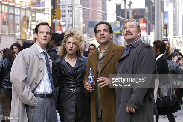 "Mr. Monk Takes Manhattan"" Episode 1 -- Pictured: Jason Gray-Stanford as Lt. Randall Disher, Bitty Schram as Sharona Fleming, Tony Shalhoub as Adrian..."
