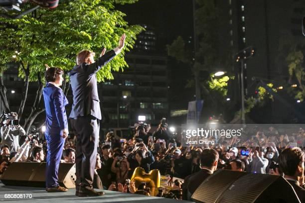 Mr Moon Jaein the presidentelect greets supporters after his victory was confirmed on the presidential election on May 9 2017 in Seoul South Korea...