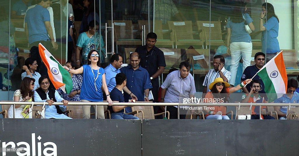 Mr Mrs Shashi Tharoor Neeta Ambani Amir Khan Kiran Rao Mukesh Ambani and Preeti Zinta cheering during the 2011 ICC World Cup final match between...
