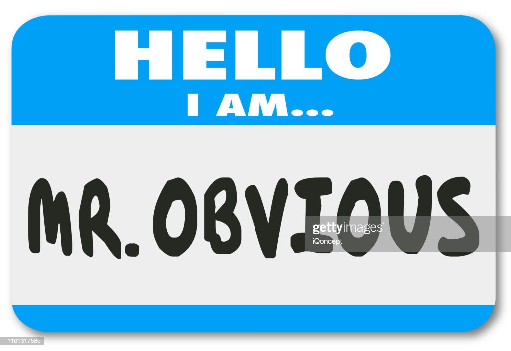 Mr Obvious Hello Name Tag Sticker Illustration : Stock Photo