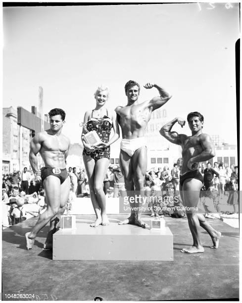 Mr Ocean Park contest 1 June 1952 Ed Holecheck 23 years Miss Christine Marlowe 19 years Irwin Paris Charles Colloras 16 years Jules Rosenblatt Ray...