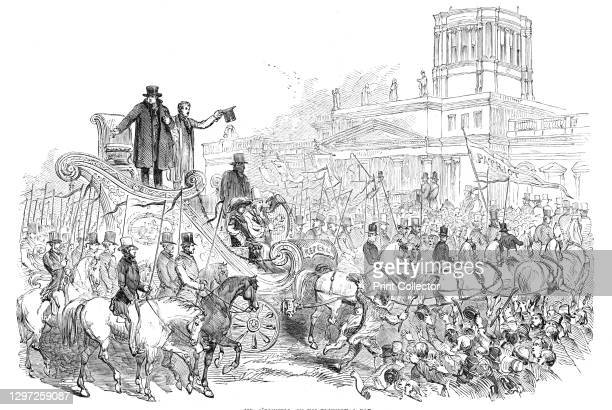 Mr. O'Connell, in his triumphal car, 1844. Crowds in Dublin, Ireland, celebrate the release from prison of nationalist politician. 'At length Mr....