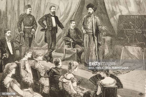Mr O'Donovan the Daily News Special Correspondent lecturing at the British Institute Constantinople on his Asiatic Expedition The First Briton in...