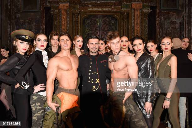 Mr Olympia Jeff Seid Fashion Designer Erik Rosete and Fitness Model marc Coppola pose with models during the finale of the MisterTripleX presentation...