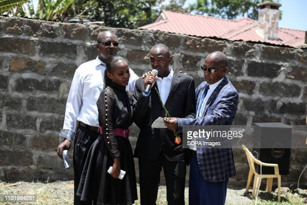 BAHATI NAKURU RIFTVALLEY KENYA Mr Paul Njoroge seen mourning his departed loved ones during the memorial service Neighbors to the victims of the...