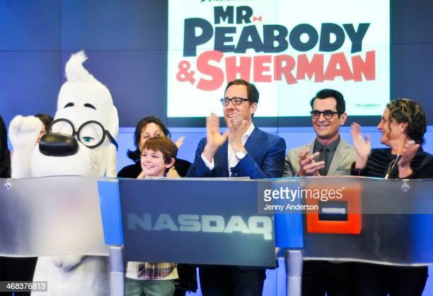 Mr Peabody Tiffany Ward Max Charles Rob Minkoff Ty Burrell and Alex Schwartz ring the opening bell at NASDAQ MarketSite on February 10 2014 in New...