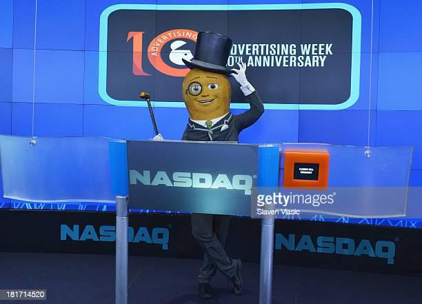 Mr Peanut rings the closing bell at NASDAQ MarketSite on September 23 2013 in New York City