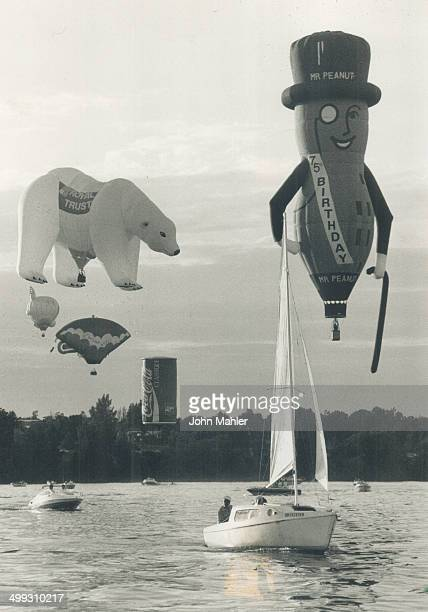 Mr Peanut Sails over brockville The skies over the waterfront in Brockville were filled with giant hot air specialty balloons yesterday as...