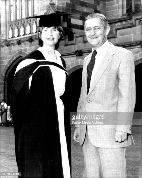 Mr Peter Coleman with his daughter Tanya who graduated in law at Sydney university today February 28 1981