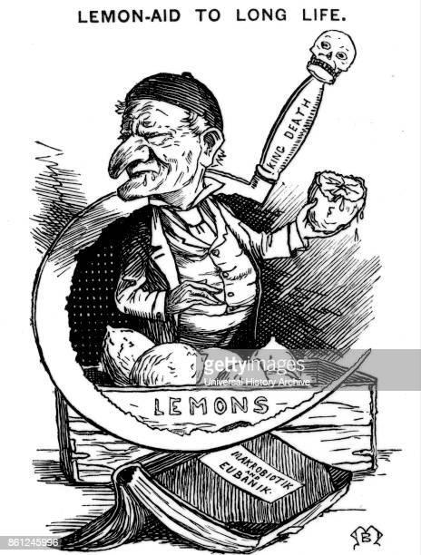 Mr Punch wincing at having to consume the number of lemons prescribed per diem by WILHELM SCHMOELE a protagonist of a MACROBIOTIC diet Cartoon from...