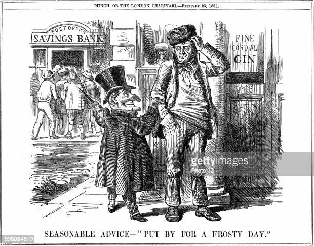 Mr Punch's advice to the British workman at the time of the opening of the Post Office Savings Bank Save money by giving up drink From 'Punch' London...
