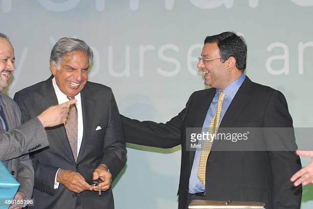 Mr Ratan Tata Chairman Cyrus Mistry Deputy Chairman Tata Sons shareing the moment during during the press conference at launch of cromaretailcom on...