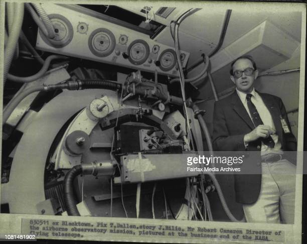 Mr Robert Cameron Director of the airborne observatory mission pictured at the business end of the NASA flying telescope May 11 1983