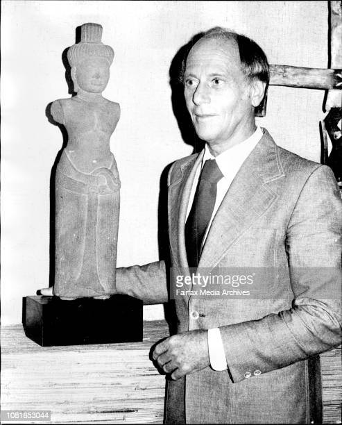 Mr Robert Haines with the sculpture Uma at David Jones Art Gallery City January 21 1974