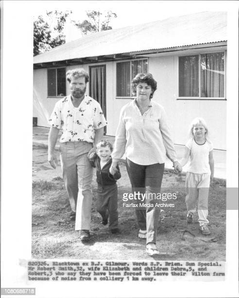 Mr Robert Smith wife Elizabeth and children Debra and Robert 3 who say they have been forced to leave their Wilton farm because of noise from a...