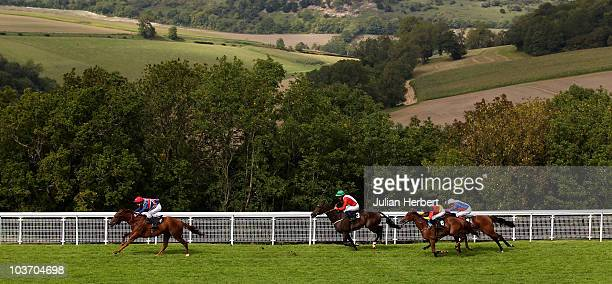 Mr Ross Birkett and Pintura land The Fegentri World Cup Of Nations Stakes run at at Goodwood Racecourse on August 29 2010 in Chichester England