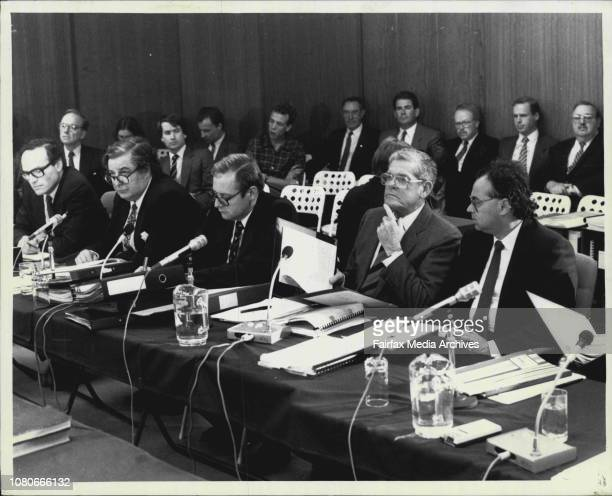 Mr Rupert Murdoch at the Australian Broadcasting Tribunal in North Sydney todayScenes from the start of hearingLeft to right Mr Dyson Heydon Mr...