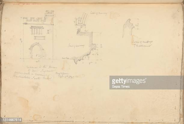 Mr Seymour's House, Bricknockshire, South Wales: Elevation and Details of Entrance Gate, unknown artist, , Studio of Augustus Charles Pugin,...